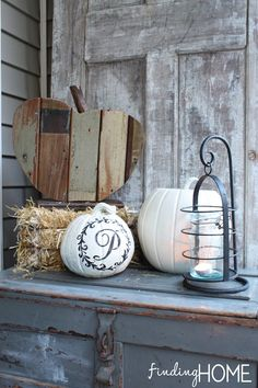 Adorable Reclaimed Wood Pumpkins, by Finding Home, featured on Infarrantly Creative