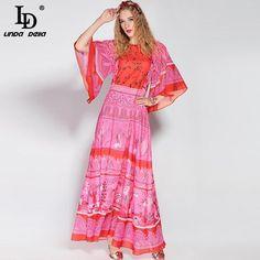 d98f36a9dfe High Quality 2017 Fashion Designer Runway Maxi Dress Women s Flare Sleeve Bohemia  Boho Beach Printing Long