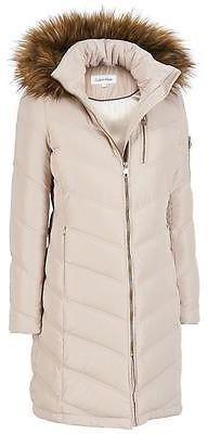 $90 Wilsons Leather Womens Exposed Zip 3/4 Puffy Jacket W/Faux-Fur Hood