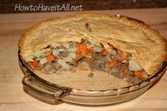 Pasty Pie!  Gonna have to make this weekend.  My Irish grandmom made these.  I had some in pubs in England, Ireland and Scotland, but they were individual pasty pies.