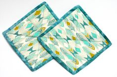 Pot holders hot pads  Shades of aqua with by ManyCharmedTreasures