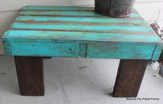 Beyond The Picket Fence: Coffee table from a Pallet Add smaller strips (stain first) in gaps and legs.