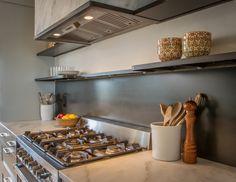 Hot Rolled Steel Kitchen Backsplash with Floating Shelving - R Mended Metals, LLC