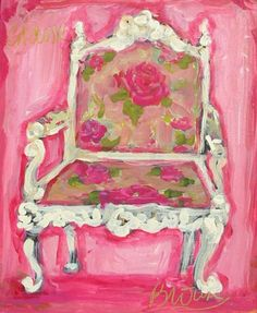 Susan Brown - white chair/floral upholstery