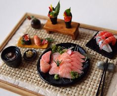 Sushi salmon Sashimi No.10 Maki Japanese food by DollhouseAra In a Barbies world, she & all her friend loves sushi