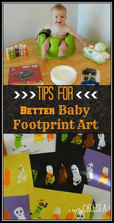 Tips for Better Baby Footprint Art: 11 tips to help get the best baby footprints for your footprint art! crafts Tips for Better Baby Footprint Art Halloween Infantil, Toddler Halloween Costumes, Halloween Halloween, Vintage Halloween, Baby Crafts, Toddler Crafts, Infant Crafts, Toddler Art, Infant Activities