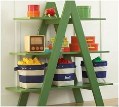 Love this DIY self. Nice way to display baskets or boxes.