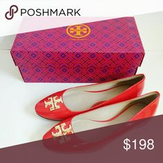 🆕 Tory Burch Raleigh Patent Ballet Flats Red 8.5 Elegant, classic clean line ballet flats in an orangey red hue. An inlaid goldtone logo medallion details the vamp for a touch of signature polish.  Leather upper, lining and sole. By Tory Burch; imported. Fit true to size. Brand new with box. Very minor scratches on sole from displaying in store. Tory Burch Shoes Flats & Loafers