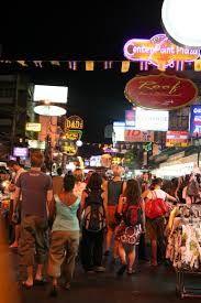 Walking the streets at night.Khao San Road.