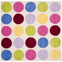 Handmade Children's Pokka Dots Ivory N. Z. Wool Rug (7' Square)