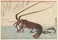 Crayfish and two shrimps, 1835-1845Hiroshige - by style - Ukiyo-e