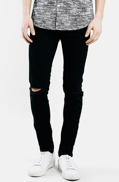 $75, Topman Ripped Stretch Skinny Fit Jeans. Sold by Nordstrom. Click for more info: https://lookastic.com/men/shop_items/184167/redirect