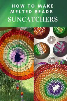 Making melted bead suncatcher is great and interesting idea for kids. Its great gift idea for housewarming parties or grandparents or parents or friends. This also can be used in home decoration Fun Crafts For Kids, Easy Diy Crafts, Summer Crafts, Crafts To Do, Diy For Kids, Garden Crafts For Kids, Melted Bead Crafts, Pony Bead Crafts, Glass Bead Crafts