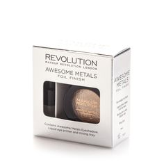 Makeup Revolution Awesome Metals Eye Foils Rose Gold Metallic Effect Eyeshadow for sale online Foil Eyeshadow, Eyeshadow Dupes, Makeup Dupes, Makeup Revolution Eyeshadow, Makeup Revolution London, All Things Beauty, Beauty Make Up, Beauty Buy, Beauty Tips