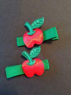 Apple hair Clippie set by mycutesies on Etsy, $3.00
