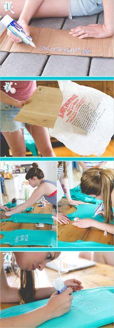 DIY Bleach Pen Tank Tops on www.weddingchicks.com LETS DO IT FOR THE OFFICERS!!!!