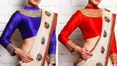 UPTO 70% OFF on #Blue and #Red #Silk Padded #Blouse With Gota Work
