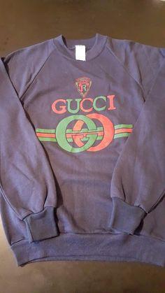 Vintage 80s Navy Blue Gucci Raised Sweatshirt Old School Hip Hop Rap MTV Luxury in Clothing, Shoes & Accessories, Vintage, Men's Vintage Clothing, 1977-89 (Punk, New Wave, 80s), Coats, Jackets, Sweaters | eBay