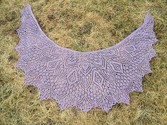 Sweet songs of birds weaving through Springtime twilight… until the last rays of sun have faded in the East… Evensong. Crescent shape all over lace shawl, beaded.