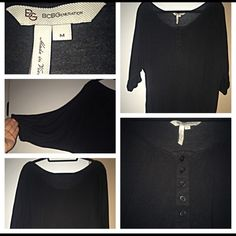 BCBGeneration Black 3 quarter sleeve top!  Black BCBGeneration top, excellent condition! Very soft! 3 quarters sleeves that have an elastic piece to help stay put! Buttons on front, bottom also has elastic stretch. Please ask me any questions you may have before purchasing!  BCBGeneration Tops