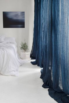 Pure linen curtains Canopy over the bed, Linen curtain panel, Light and transparent linen muslin in navy blue Navy Blue Curtains, White Linen Curtains, White Pillows, Canopy Curtains, Sheer Curtains, Panel Curtains, Muslin Curtains, Drapery, Blue Bedding