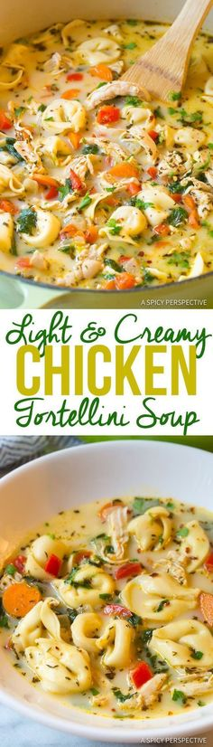 Light and Creamy Chicken Tortellini Soup Recipe. A cozy blend of chicken, vegetables, spice, cheese, and tortellini in a thin creamy broth. Lightened-up! Slow Cooker Recipes, Cooking Recipes, Healthy Recipes, Delicious Recipes, Crockpot Meals, Simple Recipes, Diet Recipes, Fall Crockpot Recipes, Fall Soup Recipes