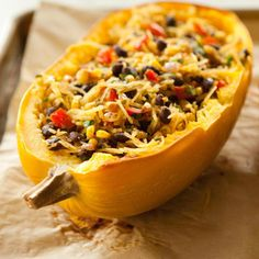 Spicy Spaghetti Squash with Black Beans #MeatlessMonday #vegan