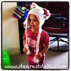 Hello Kitty Inspired Hat **Free** Crochet Pattern by DearestDebi