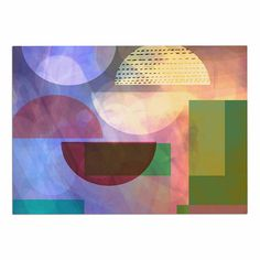 20 by 20 Kess InHouse AlyZen Moonshadow Baying at The Moon Multicolor Geometric Throw Pillow