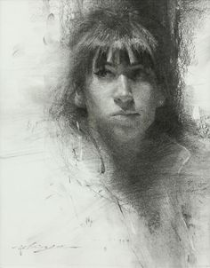 "HSIN-YAO TSENG Fine Art - Drawings: Portrait of Young Woman, Charcoal on paper  10""x8"" 2012"