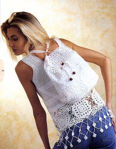 Patrones para Crochet: Patron Crochet Conjunto Top y Mochila