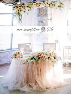 **CUSTOM ORDER** .. WE OFFER THE LARGEST COLOR AND SIZE SELECTION ON THESE CUSTOM MADE ITEMS From our fabulous New Si Collection  A romantic Two Tone colored Extra Long Tulle and Chiffon table skirt that will make your table a showpiece. The combination of 2 colors will give an added