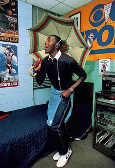 Michael Jordan in his dorm room, 1983...ok..maybe he is not a good GM/Owner..but what a baller & cultural/style icon..