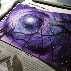 Painting the sky from my #owl prowl program last week. #art #artjournal .@thestromboshow