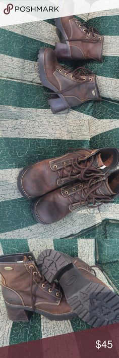 Boots Sketchers leather lace up fashion hiking boots never  used. New without tags very sharp looking soft leather tops you will love these. sketchers Shoes Combat & Moto Boots