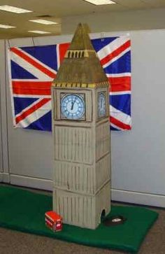 Big Ben: Cardboard, paint and a sticker clock face. Perfect for decorating or even an international putt putt course for the winter! My sister is amazing with ideas and talent!