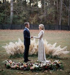 Rustic and natural backdrop for a Fall winter wedding