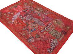 """Red Kundan Peacock Indian Tapestry - Sari Handmade Huge Wall Hanging 90"""""""