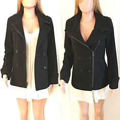 BLACK DESIGNER PEACOAT Size 2. (Fits like a small) 💯authentic. Worn one time for less than an hour to a wedding over my dress. Great condition. Double breasted. Also has front zipper. Fitted and warm! Super cute! Only selling because it hasn't been cold enough here in San Diego to get any more use out of it! Andrew Marc Jackets & Coats