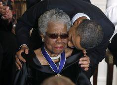maya angelou   Maya Angelou receives a Medal of Freedom from U.S. President Barack ...