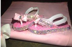 Absolutely Stunning Bling Glitz Flip Flops For Baby Girls Toddler And Up. Swarovski Type. Glitz  pink girls baby take me home  on Etsy, $64.49