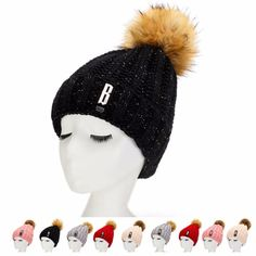 Winter Pom-Pom Beanine Hat with Warm Fleece Lined, Thick Slouchy Snow Knie Skull Ski Cap