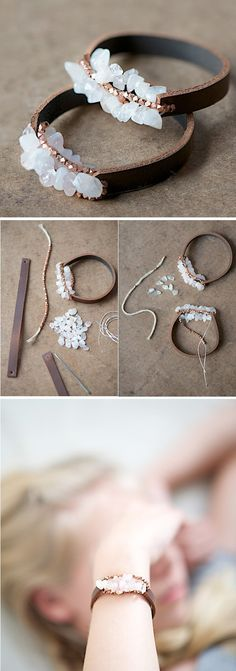 Leather bracelet with details in golden color and delicate white pebbles, for casual outfit.