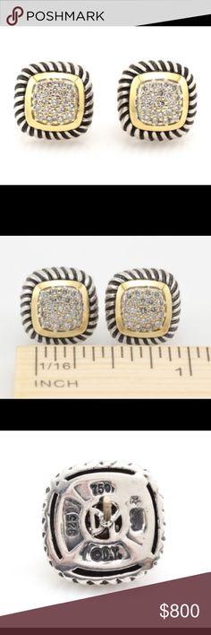 David Yurman Vintage Pave Albion Earrings Vintage David Yurman earrings -- gold and silver with pave diamonds. David Yurman Jewelry Earrings
