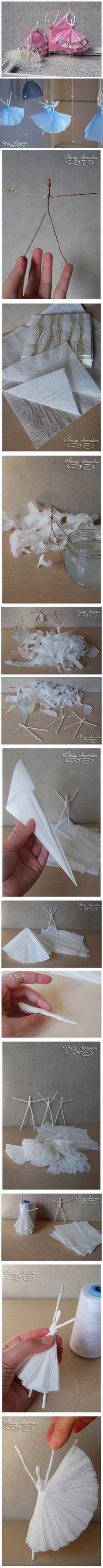Muchacha del ballet ~ papel crepé (o una toalla de papel) + alambre, simple y hermoso ~