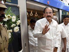 Venkaiah Naidu alighting from the Metro Train after inaugurating the Metro Rail…