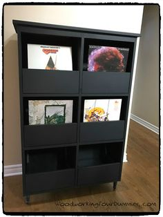 Black Vinyl Record Storage Cabinet
