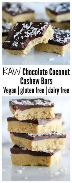 Chocolate Coconut Cashew Bars Chocolate coconut cashew bars made with simple, clean ingredients. Vegan, gluten free and dairy free Chocolate coconut cashew bars made with simple, clean ingredients. Vegan, gluten free and dairy free Raw Vegan Desserts, Raw Vegan Recipes, Vegan Treats, Paleo Dessert, Dairy Free Recipes, Dessert Recipes, Keto Recipes, Vegan Raw, Baking Recipes