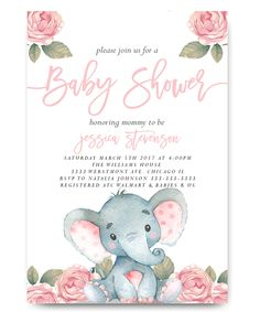 Elephant Baby Shower Invitation,Elephant With Flowers, Elephant, Pink  Elephant, Vintage Elephant