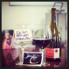 Our social media announcement. Our friends and family know we are huge red wine drinkers so we thought this avenue fit us perfect. Do I miss my wine? Yes. Do I love my baby more? Double yes!!!